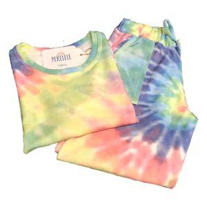 Conjunto tie dye infantil: calça com punho e elástico na cintura + blusinha.